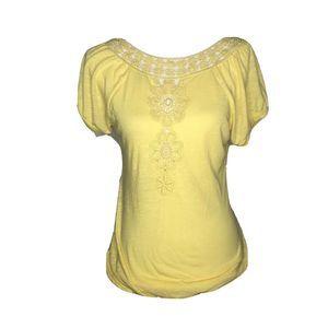 ENERGIE T-SHIRT - SZ L - lace yellow